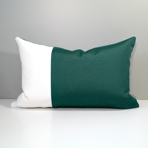 Forest Green White Outdoor Pillow Cover Decorative Pillow Etsy