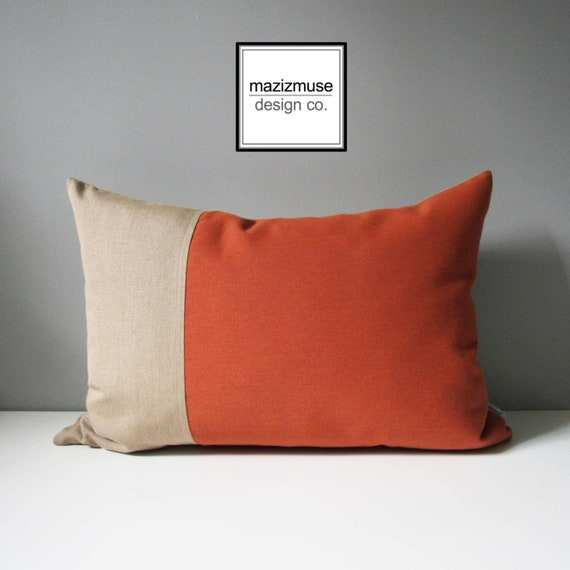 Decorative Rust Beige Outdoor Pillow Cover Modern Color Etsy Magnificent Rust Colored Decorative Pillows