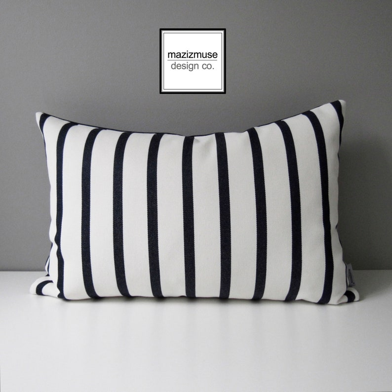 Decorative Navy Blue White Striped Outdoor Pillow Cover Nautical Pillow Cover Modern Stripes Sunbrella Cushion Cover Mazizmuse