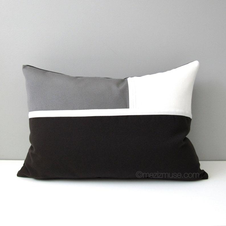 Dark Brown & Grey Outdoor Pillow Cover Modern Throw Pillow | Etsy