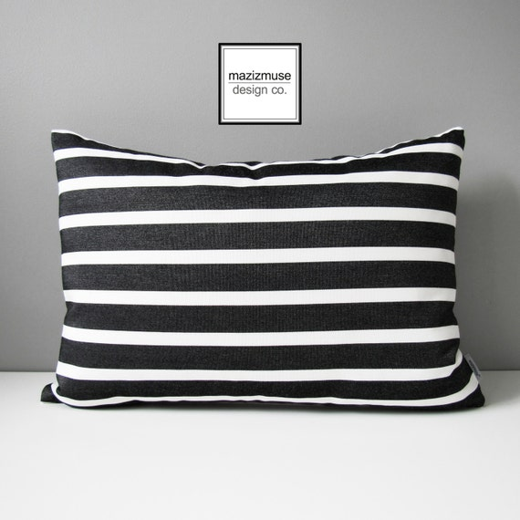 Black White Outdoor Pillow Cover Decorative Striped Pillow Etsy