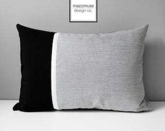 Black & Grey Outdoor Pillow Cover, Decorative Pillow Case, Color Block Throw Pillow Case, White Silver Gray, Granite Sunbrella Cushion Cover