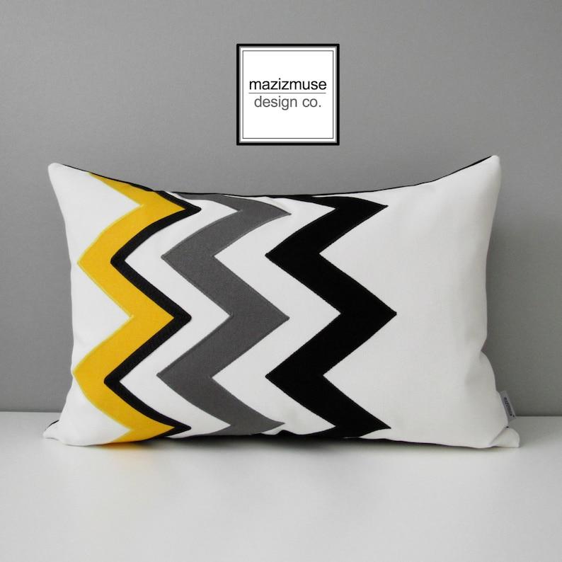 Yellow Chevron Pillow Cover Black White Grey Outdoor Pillow Etsy