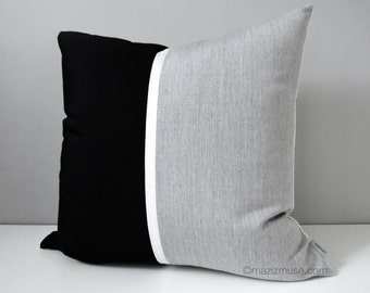Black & Grey Outdoor Pillow Cover, Decorative Color Block Pillow, Throw Pillow Case Modern Silver Granite Sunbrella Pillow Cushion Cover