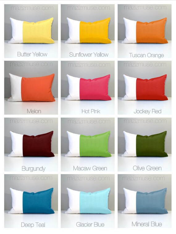 Pastel Yellow Grey Pillow Cover Modern Color Block Pillow Etsy