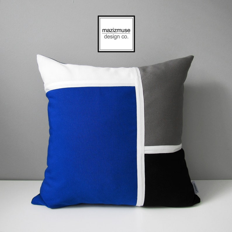 Royal Blue Outdoor Pillow Cover Modern Color Block Etsy