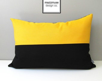 Modern Black & Yellow Outdoor Pillow Cover, Decorative Sunbrella Pillow Cover, Lemon Yellow and Black Color Block Cushion Cover, Mazizmuse