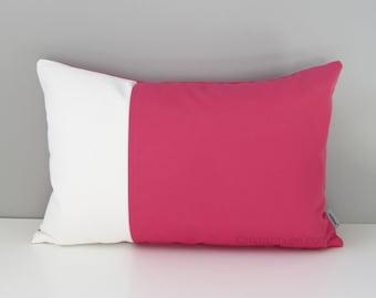 Pink & White Outdoor Pillow Cover, Decorative Pillow Case, Modern Color Block, Throw Pillow Case, Bubblegum Pink Sunbrella Cushion Cover