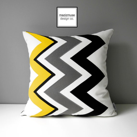 Decorative Yellow Chevron Pillow Cover