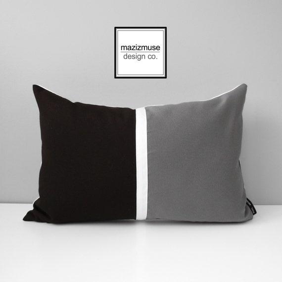 Dark Brown & Grey Color Block Pillow