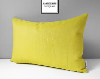 Modern Acid Yellow Outdoor Pillow Cover, Decorative Pillow Cover, Sunbrella Pillow Cover, Solid Yellow, Citron Cushion Cover, Mazizmuse