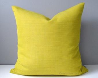 Acid Yellow Outdoor Pillow Cover, Decorative Pillow Case, Modern Pillow Cover, Solid Citron Yellow Sunbrella Cushion Cover, Mazizmuse