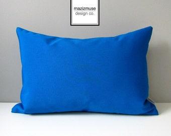 Cobalt Blue Outdoor Pillow Cover, Decorative Pillow Case, Modern Cushion Cover, Pacific Blue Sunbrella Throw Pillow, Mazizmuse