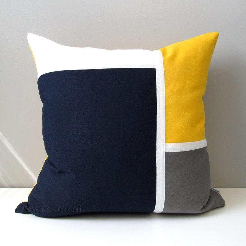 cd5a7ca686479 Decorative Navy Blue   Yellow Outdoor Pillow Cover Nautical