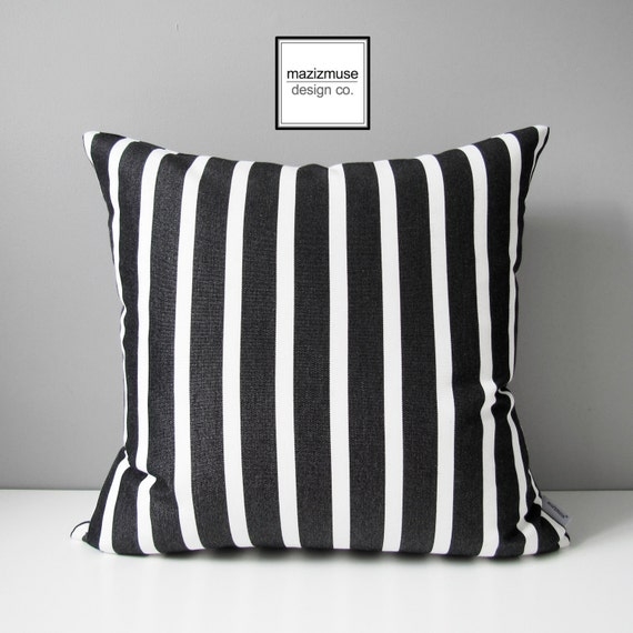 Decorative Black White Striped Outdoor Pillow Cover Modern Etsy