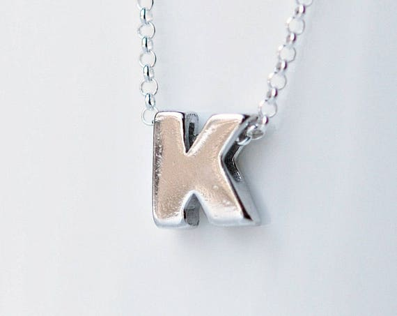 Sterling silver initial necklace, tiny initial pendant, uppercase letter necklace, birthday gift for her, alphabet, personalized necklace