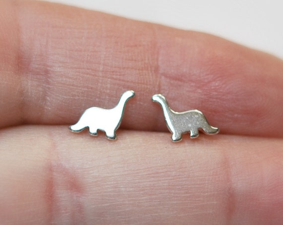 Dinosaur earrings, 925 sterling silver studs, silver dinosaur studs, dinosaur jewelry, christmas gift, paleontology jewelry, caveman jewelry