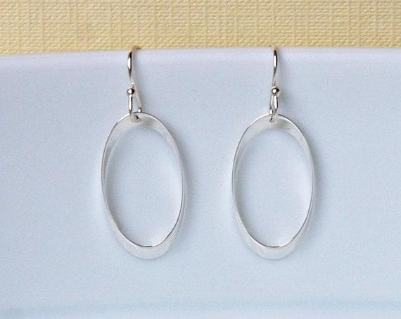 Silver hoop earrings, sterling silver twisted oval hoops, classic earrings, minimalist earrings, womens gift, modern hoops, simple jewelry