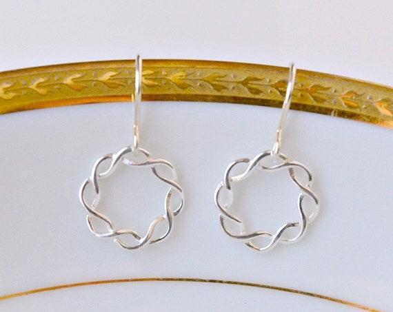 Sterling silver circle earrings, braided circle, eternity circle, simple earrings, minimalist jewelry, small silver earrings, halo earrings