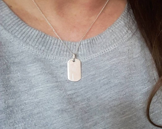 Sterling silver dogtag necklace - engravable