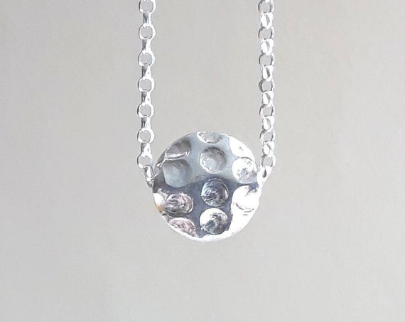 Polka dot necklace, sterling silver floating coin necklace, hammered disk necklace, modern gift for her, simple jewelry, minimalist necklace