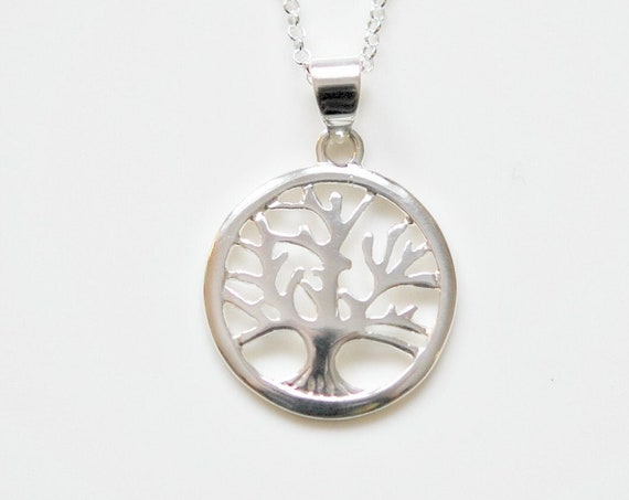 Sterling silver tree necklace, tree of life necklace, family tree, tree charm, protection pendant, tree jewelry, symbolic necklace