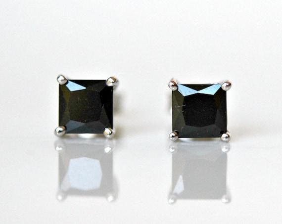 Black stud earrings, sterling silver, crystal studs, black square studs, 5 or 6mm, princess cut, cubic zirconia studs, simple earrings