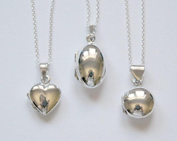 Sterling silver locket, engravable locket, heart locket, oval locket, round locket, personalized gift