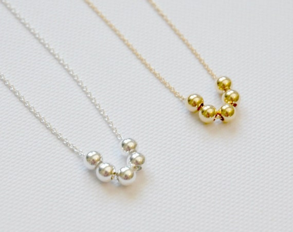 Ball necklace, sterling silver balls necklace, gold balls necklace, five beads, delicate necklace, sexy choker, geometric necklace