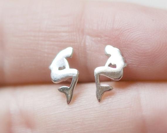 Mermaid earrings, 925 sterling silver studs, silver mermaid studs, fantasy earrings, gift for little girl, little mermaid jewelry, cute stud