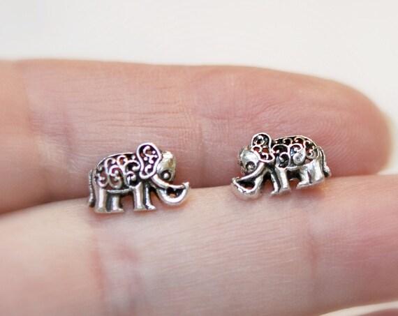 Silver elephant earrings, 925 sterling silver elephant stud earrings, animal jewelry, gift for her, lucky elephant, cute earrings