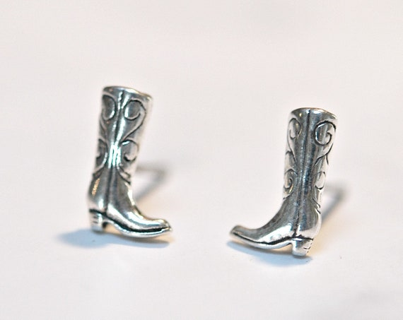Silver cowboy boot earrings, sterling silver cowboy boot stud earrings, cowgirl jewelry, equestrian jewelry, rodeo jewelry, western earrings