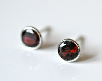 Natural Mozambique Red Garnet gemstones silver stud earrings set in oxidized 925 sterling silver Mom Gift
