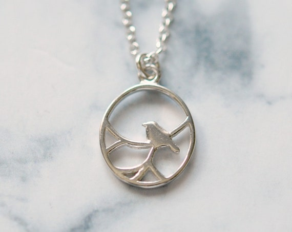 Sterling silver bird necklace