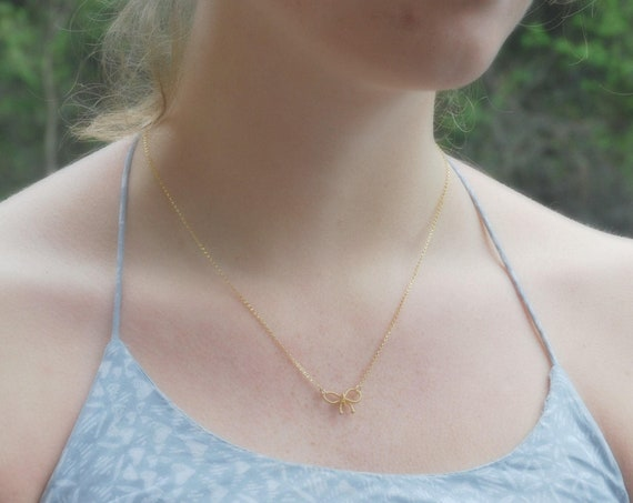 40% OFF SALE Gold ribbon bow necklace