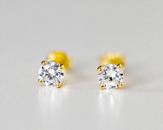 Tiny cubic zirconia stud earrings
