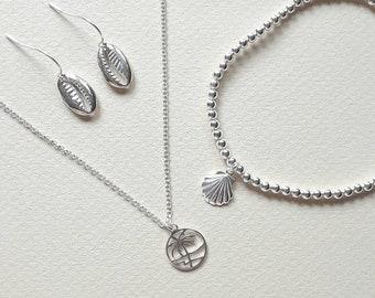 Add a sterling silver charm - beach and tropical, beach charm, tropical charm, silver seashell, pineapple charm, palm tree, charm bracelet