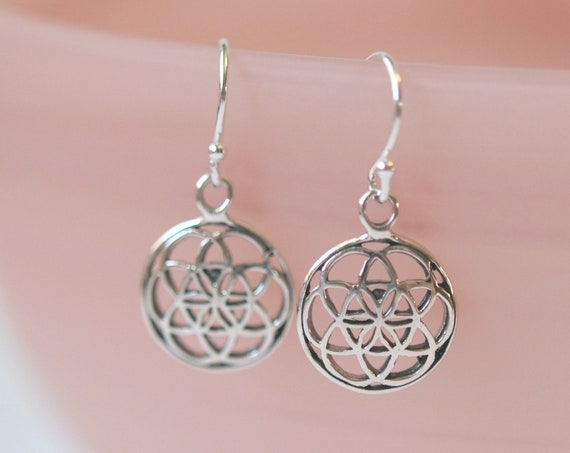 Sterling silver flower of life earrings