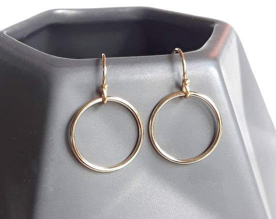 Gold circle earrings, dainty gold earrings, thin circle, gold hoop earrings, eternity earrings, simple earrings, minimalist jewelry