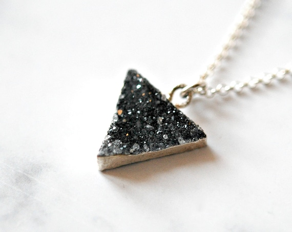40% OFF SALE Druzy necklace, black druzy pendant, genuine druzy triangle, sterling silver, black gemstone necklace, minimal necklace