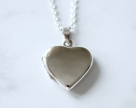 Sterling silver heart locket necklace - engravable
