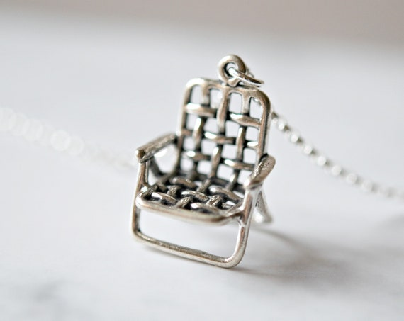 Sterling silver retro lawn chair necklace