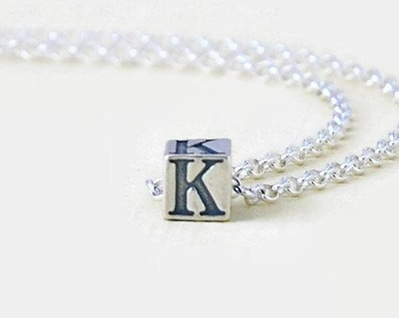 Sterling silver initial necklace, letter cube, personalized jewelry, alphabet necklace, initial charm, simple jewelry, trendy gift