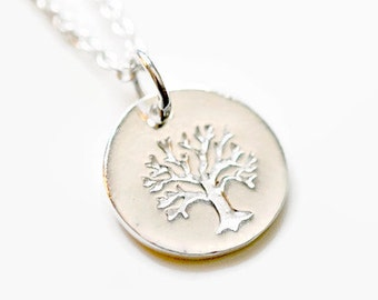 Tree of life necklace, sterling silver tree pendant, outdoors lover, round silver pendant, little girl, daughter, family tree, Celina
