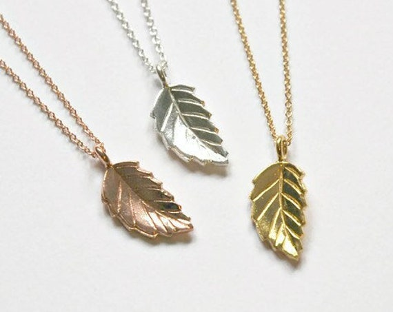 Leaf necklace, rose gold leaf pendant, sterling silver chain, gift for women, folded leaf, outdoors gift, simple jewelry, mixed metals