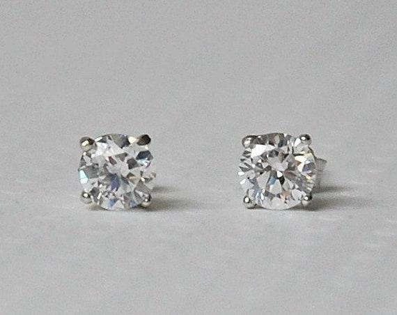 Diamond stud earrings, black cz studs, sterling silver, 5mm cubic zirconia, solitaire studs, simple earrings, clear cz, black crystal