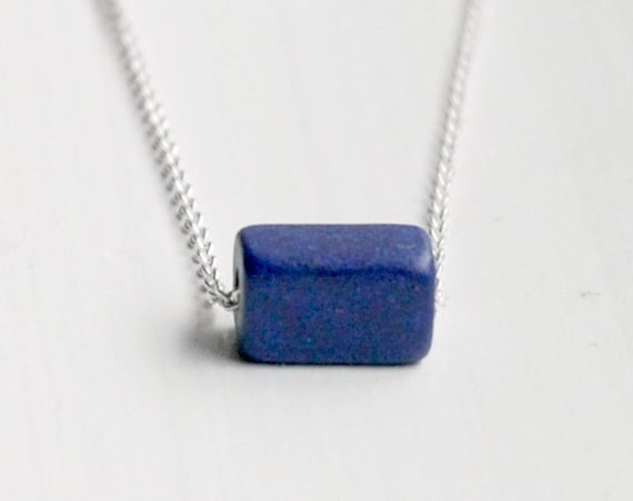 Cube necklace, sterling silver chain, blue ceramic cube, cobalt blue, something blue, geometric jewelry, simple necklace, modern jewelry