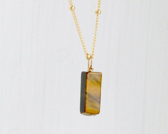 Gemstone bar necklace, hematite bar, tigers eye pendant, gold satellite chain, sterling silver satellite chain, modern jewelry, gift for her