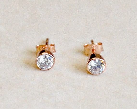 Rose gold studs, diamond stud earrings, 4mm or 6mm cubic zirconias, rose gold diamond earrings, cz solitaire, minimal gold earrings