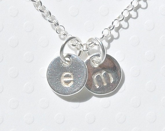 Personalized sterling silver disk necklace